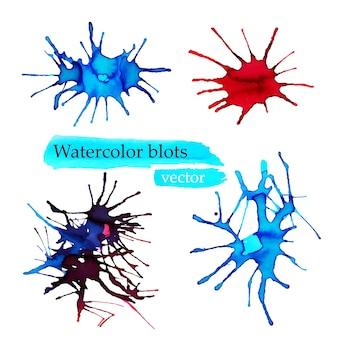 スプラッシュ水彩バナーのベクトル。ビジネスカードで隔離されたカラフルな水彩スプラッシュ