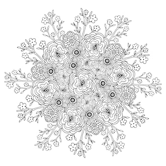 花のパターンとベクトルの曼荼羅。大人のぬりえの本のページ。装飾のための花のデザイン。