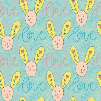 ウサギの子供のパターン。テキスタイルのためのシームレスな背景