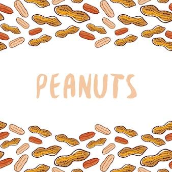 ピーナッツの背景。ナット手描きベクトル