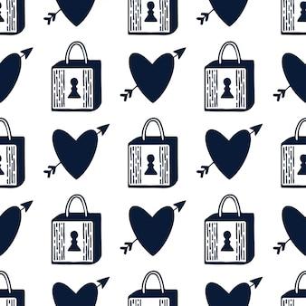 南京錠と心のシームレスなパターン。黒と白ロマンチックなデザインをロックします。バレンタインデーの繰り返しパターン。