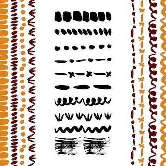 手描きの単純なベクトルブラシコレクション。仕切り、ボーダー、装飾ブラシストローク。インク要素。ブラシ付き