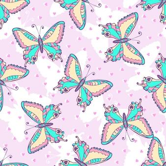ファッション蝶のパターン。布やラッピングペーパーのためのベクトル図。サマープリントデザイン