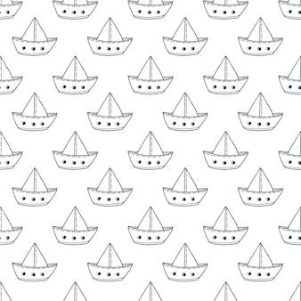 紙船のシームレスなパターン