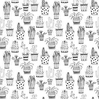 多肉植物のサボテンのパターン。鉢の背景に落書きの花。