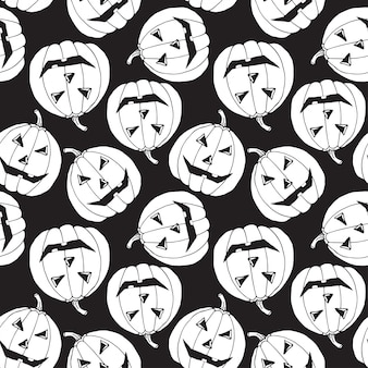 ハロウィーンのシームレスなパターン。不気味なカボチャの背景。ハロウィーンの休日のための漫画のベクトルパターン。