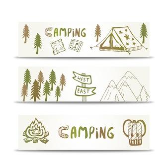 キャンプ用のバナーは、山とテントで水平に設定されています。デザインテンプレート上の手書き要素。