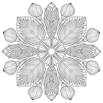 Цветочная декоративная мандала с экзотическими цветами