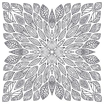 Необычная декоративная мандала с экзотическими цветами