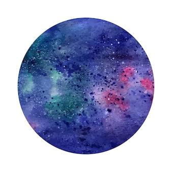 水彩抽象的な空間円。宇宙の背景。グリーティングカード、バナー、ロゴタイプに使用できます