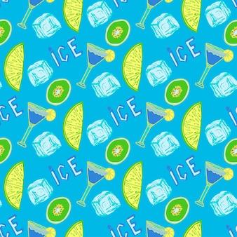 夏のカクテルシームレスパターン。手描きの氷の背景。