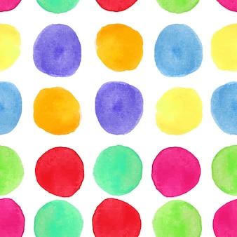 サークルとカラフルな水彩シームレスパターン。塗られた丸いはねの背景