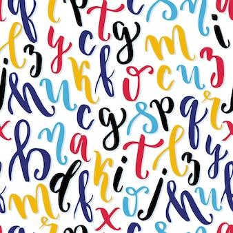 手書き書道アルファベットのシームレスパターン。創造的な手紙。ベクトル図