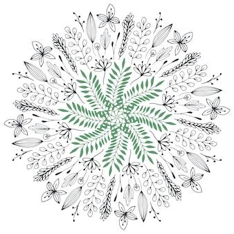 手描きの花のイラスト。かわいい落書きの花が描かれた抽象的なサークル。ベクトル装飾的なデザイン要素。春の芸術。