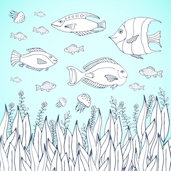 大人のぬりえの本のページ。水族館の魚のページを着色している子供たち。水族館で子供を彩るページ