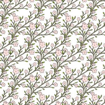 Векторные вишневые цветы бесшовные модели. для текстильной ткани или дизайна упаковки