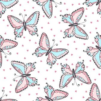 落書き様式の蝶のシームレスなパターン