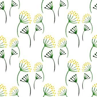 水彩のシンプルなハーブのシームレスなパターン。花の背景とディル