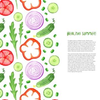 Ручная роспись акварельных овощей. граница акварелью с рукколой, огурцом, томатом
