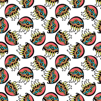 ベクトルでシームレスなレトロなゼリーの魚の子供のパターンの壁紙の背景