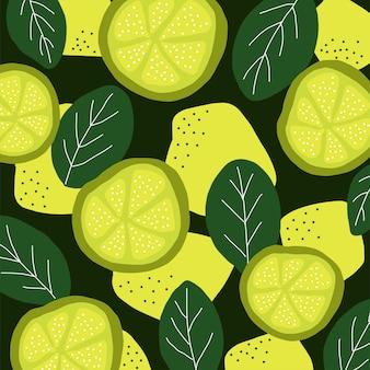 手描くレモンライムの創造的な背景