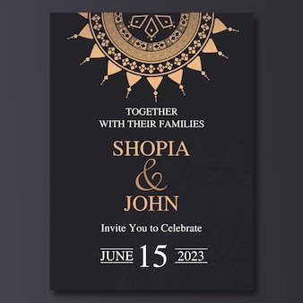 Шаблон приглашения свадьба роскошь с орнаментом мандалы.