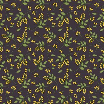 シームレスな植物の花柄の黄色の黄色の房緑の小枝は、全面印刷を残します