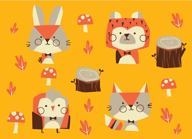 森の動物キャラクター