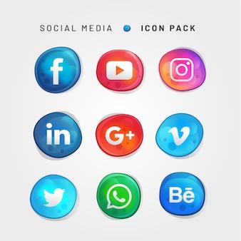 バブルスタイルのソーシャルメディアのアイコンパック