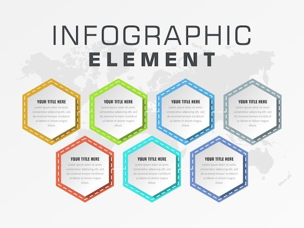 セブンポイント抽象インフォグラフィック要素ビジネス戦略