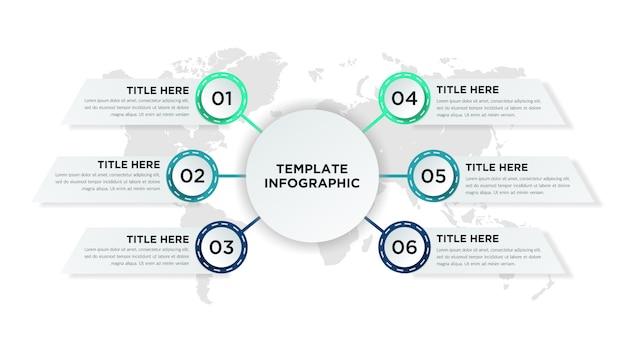 Шесть пунктов бизнес инфографики элемент дизайна
