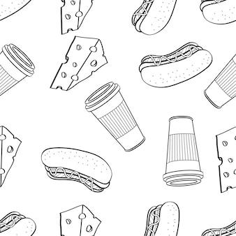 黒と白の落書きベクトルで描かれたチーズホットドッグとコーヒーの手のシームレスパターン