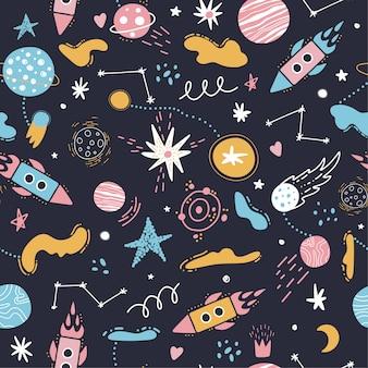 シームレスなスペースパターン。ロケット、星、惑星。