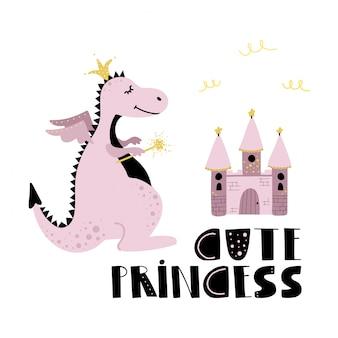 かわいいピンクのドラゴンプリンセスと城。