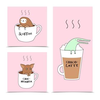 Набор карточек с милым ленивцем