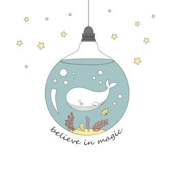 電球の中のかわいいクジラ