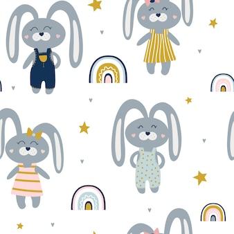 Симпатичные бесшовные модели с зайцами и радугами.