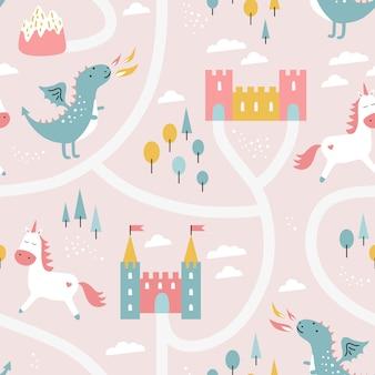 Детский бесшовный узор с драконом, замком, единорогом