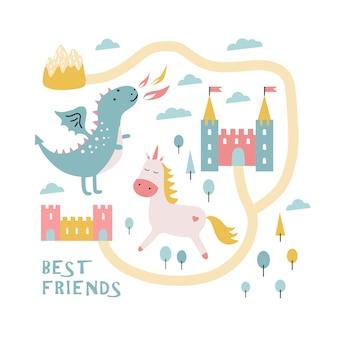 かわいいドラゴン、城、ユニコーン。親友。