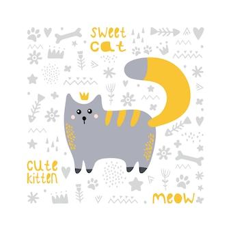 赤い尾を持つかわいい灰色猫。王女。