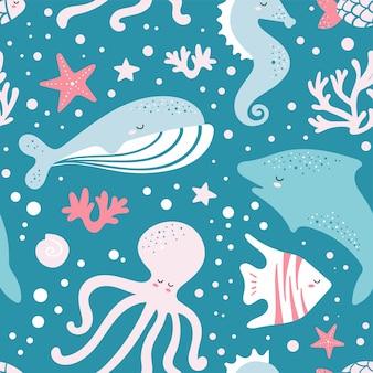 魚、クジラ、タコとかわいいのシームレスパターン
