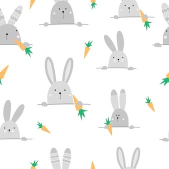 ウサギとかわいいのシームレスパターン
