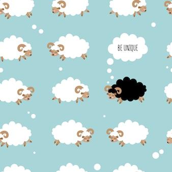 かわいい羊とのシームレスなパターン。一意であること