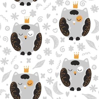 スカンジナビアスタイルのフクロウとかわいいのシームレスパターン