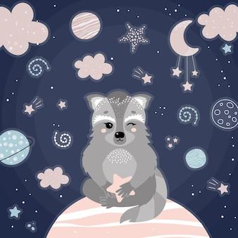 Милый енот в ночном пространстве