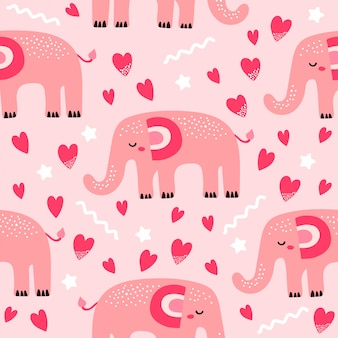 かわいい象とのシームレスなパターン
