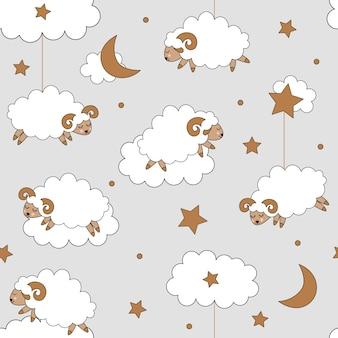 羊とかわいいのシームレスパターン