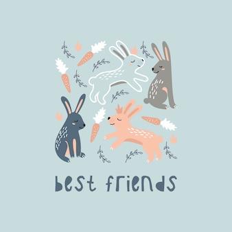 Симпатичные мультяшные кролики.