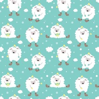 子羊とかわいい冬のシームレスなパターン。