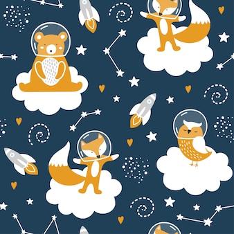 かわいいクマ、キツネ、フクロウ、星とのシームレスなパターン